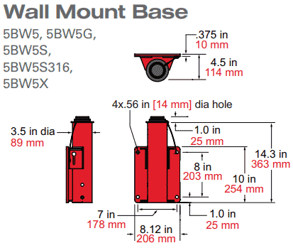 5PF5 Wall Mount Base Dimensions