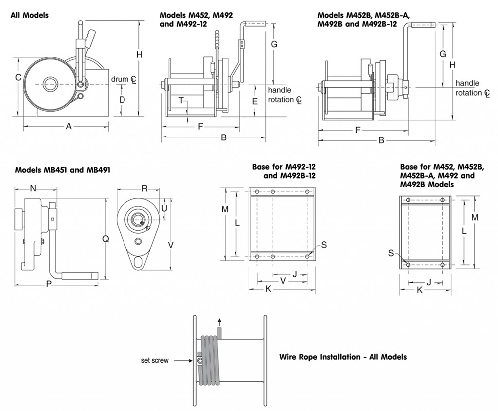 Dimensions for spur gear double reduction winches